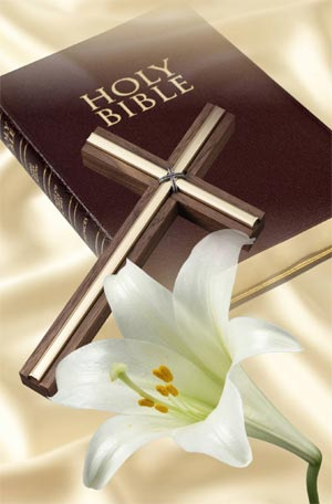 bible, cross and lily