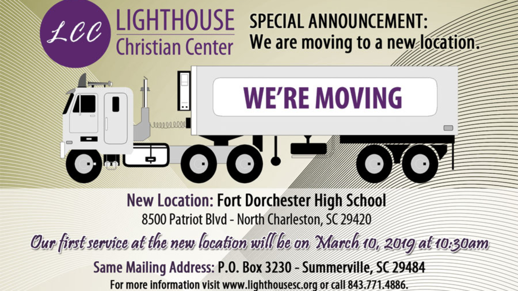 SPECIAL ANNOUNCEMENT: We are moving to a new location.